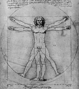 El hombre de Vitruvio, que recoge el estudio de las proporciones humanas