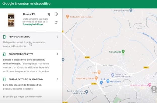 Mapa de google donde podremos hayar la situación de nuestro celular.