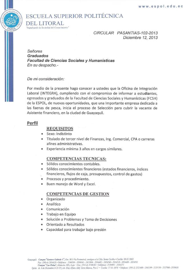 Blog de Publicaciones de la FCSH – ESPOL. » 2013 » diciembre