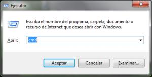 Ventana Ejecutar comando de Windows