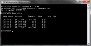 List disk, lista de discos conectados