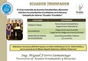 Ganador de Ecuador Triunfador: Ronny Andrade, un ejemplo del trabajo tenaz taws-espol