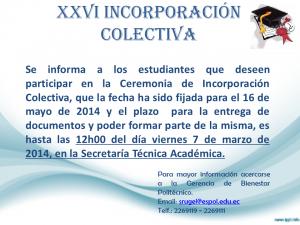 FECHA XXVI INCORPORACIÓN COLECTIVA