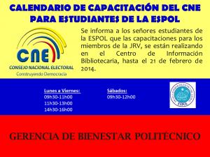CAPACITACIONES ESTUDIANTES CNE 2014