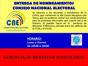 ENTREGA DE NOMBRAMIENTOS A DOCENTES Y ESTUDIANTES DE LA ESPOL POR PARTE DEL CNE