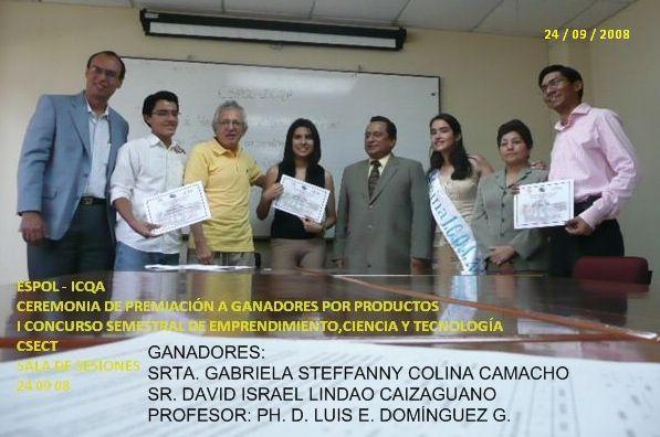 SRTA. GABRIELA CAMACHO Y SR. DAVID LINDAO, DE LA 1ERA EDICION DEL CSECT