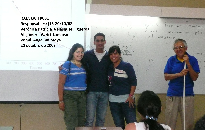 REGISTRO DE LOS RESPONSABLES DE LAS CLASES DEL 13, 17 Y 20 DE OCTUBRE DE 2008