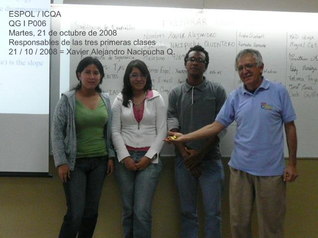 REGISTRO DE LOS RESPONSABLES DE LAS CLASES DEL 14, 17 Y 21 DE OCTUBRE DE 2008