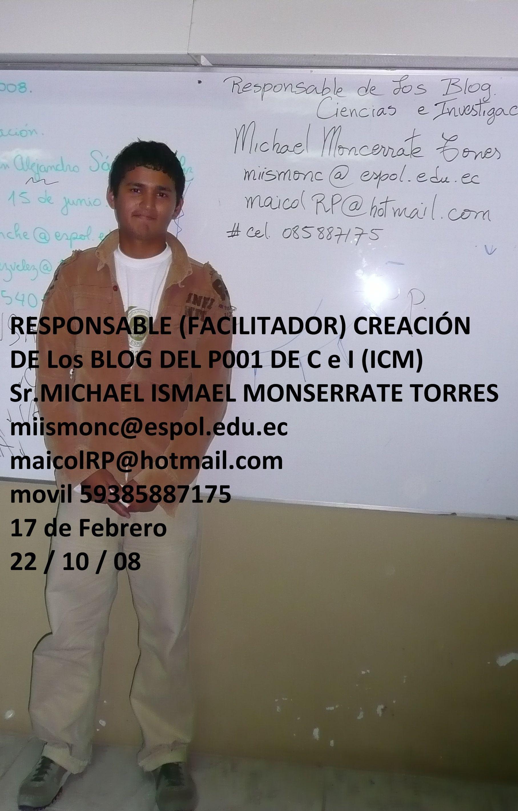 REGISTRO DEL RESPONSABLE DE LA CREACIÓN DE LOS BLOG DEL P001 DE CEI
