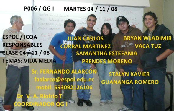 COMPAÑEROS RESPONSABLES PARA CLASE 04 / 11 / 08