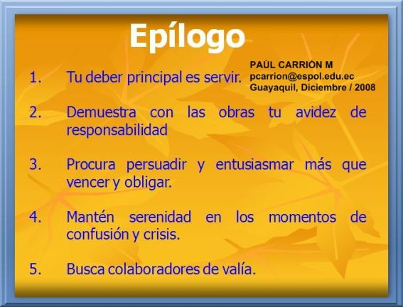 EPÍLOGO DEL DOCUMENTO PPT Dr. P. CARRIÓN M.