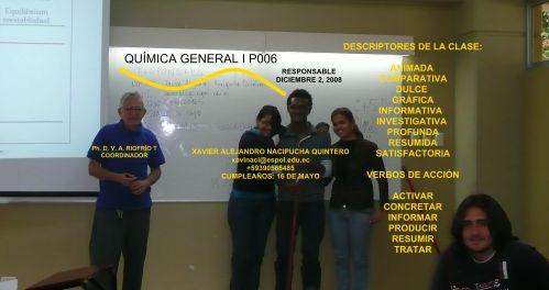 COMPAÑERO RESPONSABLE PARA CLASE 01-12- 08 POO6, Sr. XAVIER ALEJANDRO NACIPUCHA QUINTERO