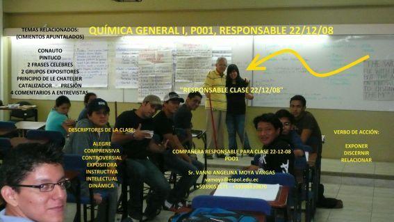 RESPONSABLE POR CLASE 22 DICIEMBRE 2208 SRTA. VANNI A. MOYA V.