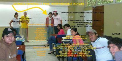 RESPONSABLE POR CLASE 23 DICIEMBRE 2008 SR. ALEX F. DELGADO  P.