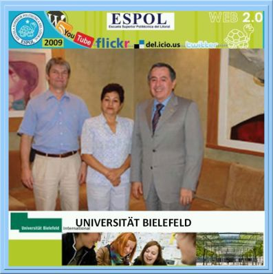 Ph. D. Gottfried Stroble, Ms. Sc. Olga González S. y Ph. D. Moises Tacle G. Rector ESPOL