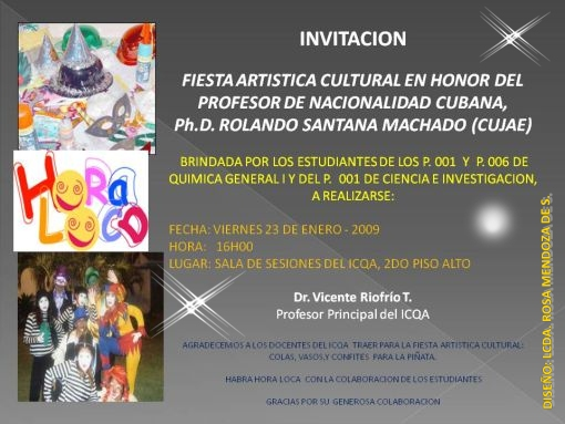 INVITACIÓN ARTISTICO CULTURAL 23 DE ENERO DE 2009