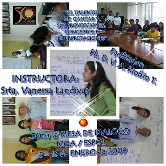 Srta. Vanessa Landivar, INSTRUCTORA 36ma ta MESA de Diálogo
