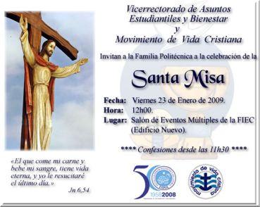 INVITACIÓN A SANTA MISA 23 DE ENERO DE 2009