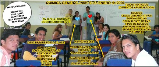 RESPONSABLES POR CLASE LUNES 19 DE ENERO DE 2009