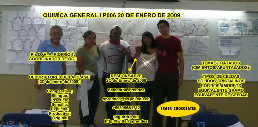 SRTA. Samantha Prendes RESPONSABLE DE LA CLASE 20 DE ENERO 2009