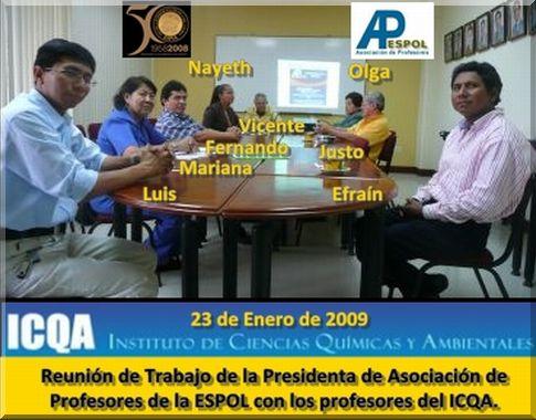 Reunión de Trabajo de la Presidenta de la APESPOL con los profesores del ICQA - 23 de Enero de 2009