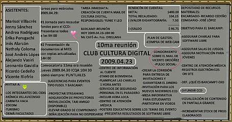 Pizarra con los puntos importantes de la 10ma reunión CCD ESPOL 2009.04.23