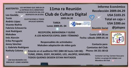 Pizarra con los puntos importantes de la 11ma ra reunión CCD ESPOL 2009.04.30