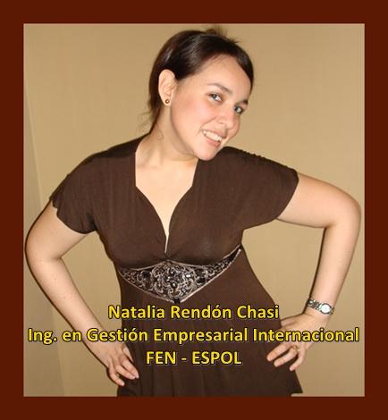 Natalia Rendón Chasi, Ing. en Gestión Empresarial Internacional, FEN, ESPOL