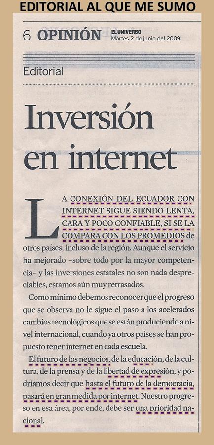 EDITORIAL DE EL UNIVERSO 20090602: INVERSIÓN EN INTERNET