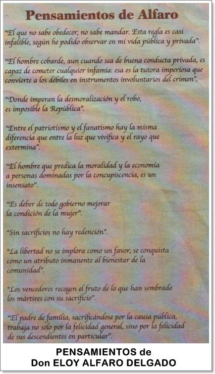 Pensamientos del General Eloy Alfaro Delgado