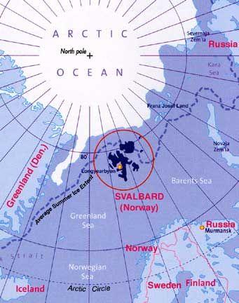 Ubicación de Svalbard (Noruega)
