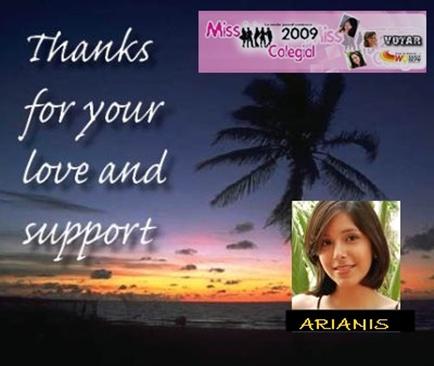 Arianis Riofrio D. MISS COPOL, agradece a todos por su amor y soporte en la competencia MISS COLEGIAL 2009
