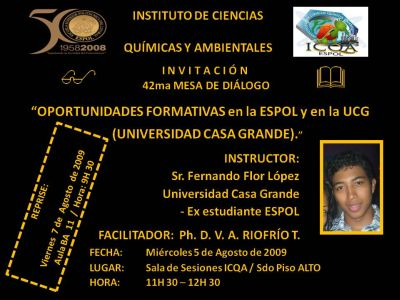 42ma 2da Mesa de Diálogo ICQA ESPOL UCG Fernando Flor L.