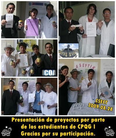 orgullo y satisfacción de los nuestros alumnos por los productos presentados en CSECT al 2009.08.28