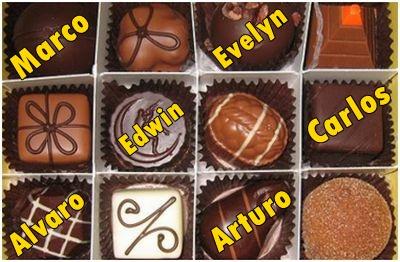 El nombre de los chicos responsables en traer chocolates
