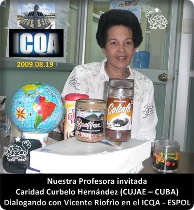 Caridad Curbelo Hernández en la oficina Dr. Vicente Riofrío, 2009.08.19