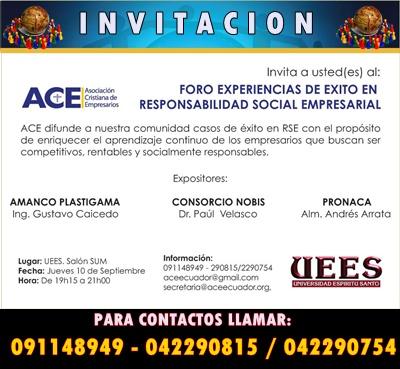 INVITACIÓN AL FORO EXPERIENCIA DE ÉXITO EN RESPONSABILIDAD SOCIAL EMPRESARIAL
