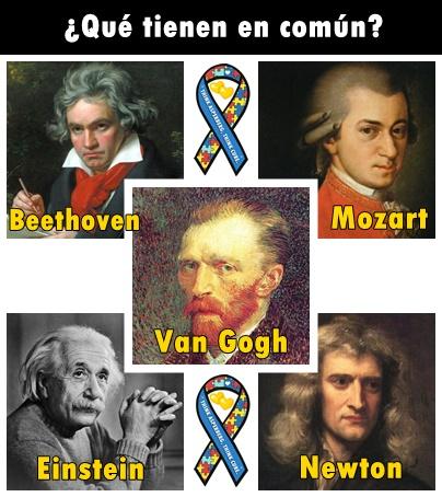 Ludwig van Beethoven, Albert Einstein, Wolfgang Amadeus Mozart, Isaac Newton, Vincent Van Gogh