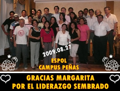 Margarita Martnez con sus ex-alumnos y pares 2009.08.27
