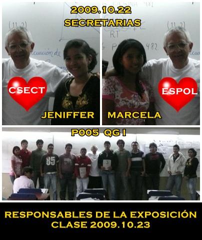 SECRETARIAS Y RESPONSABLES DE EXPOSICIÓN 2009.10.23