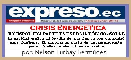 CRISIS ENERGÉTICA POR NELSON TURBAY, DIARIO ESPRESO