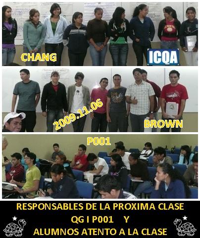 RESPONSABLES DE LA CLASE P001
