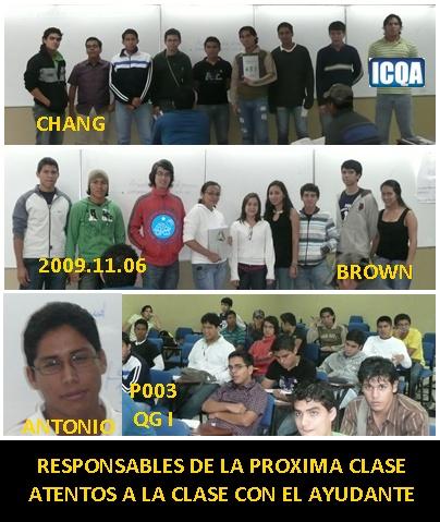 RESPONSABLES DE LA CLASE P003