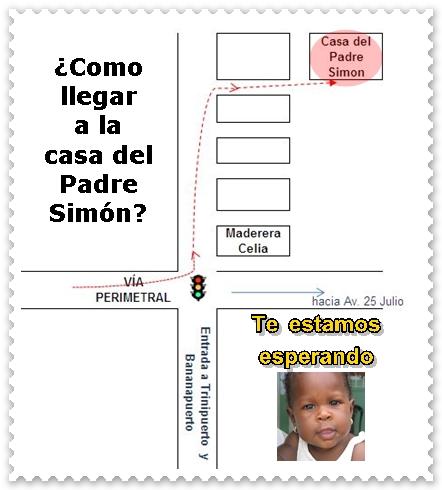 Diagrama de como llegar a la casa del Padre Simón