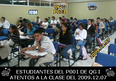 ESTUDIANTES DE QUÍMICA GENERAL I, P001