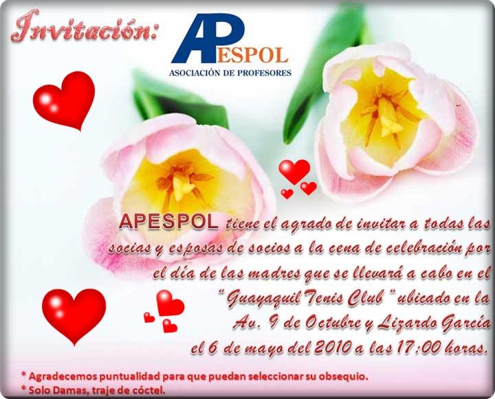 Invitacion DÍa De Las Madres RegiÓn: 07 « Mayo « 2010 « RED DENTRO Y FUERA ESPOL